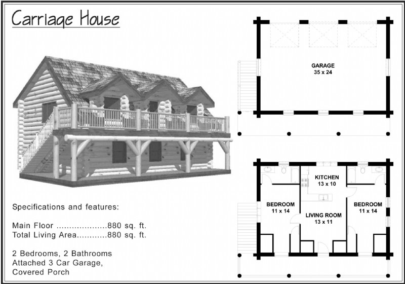 1 500 sq ft and under alpine blue log homes for Carriage house plans cost to build